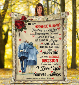 Couple blanket - To my husband marrying you was the best decision - Valentine gift for husband - Family Presents - Great Blanket, Canvas, Clothe, Gifts For Family