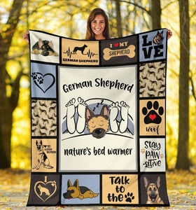 German Shepherd Nature's Bed Warmer Fleece Blanket