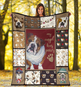 Dog Blanket English Bulldog My Angel Has Paws Fleece Blanket
