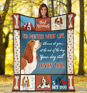 Dog Blanket No Matter What Life Throws At You Funny Basset Hound Dog Fleece Blanket