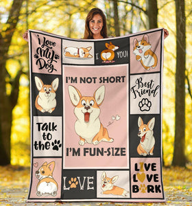 Dog Blanket I'm Not Short I'm Fun Size Corgi Dog Fleece Blanket - Family Presents - Great Blanket, Canvas, Clothe, Gifts For Family