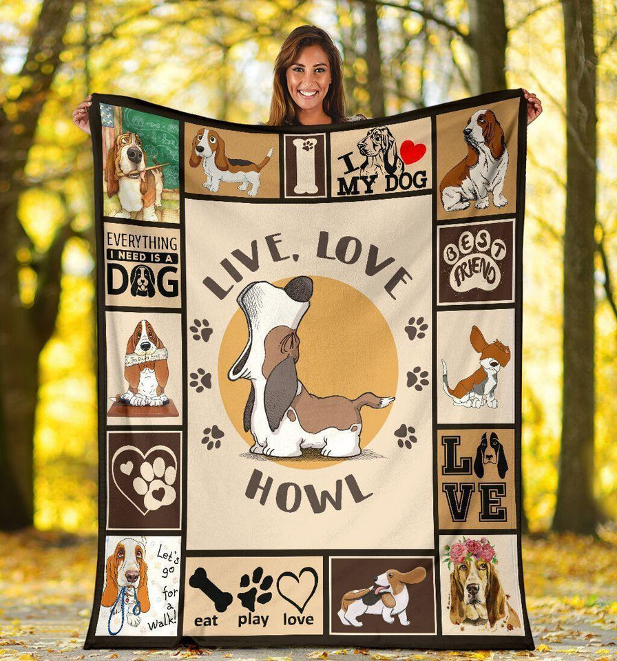 Dog Blanket Live Love Howl Funny Basset Hound Dog Fleece Blanket - Family Presents - Great Blanket, Canvas, Clothe, Gifts For Family