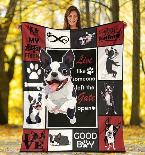 Live Like Someone Boston Terrier Ultra Soft Cozy Fleece Blanket - Family Presents - Great Blanket, Canvas, Clothe, Gifts For Family