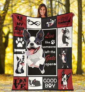 Live Like Someone Boston Terrier Ultra Soft Cozy Fleece Blanket