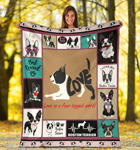Love Is A Four-Legged Word Boston Terrier Fleece Blanket - Family Presents - Great Blanket, Canvas, Clothe, Gifts For Family
