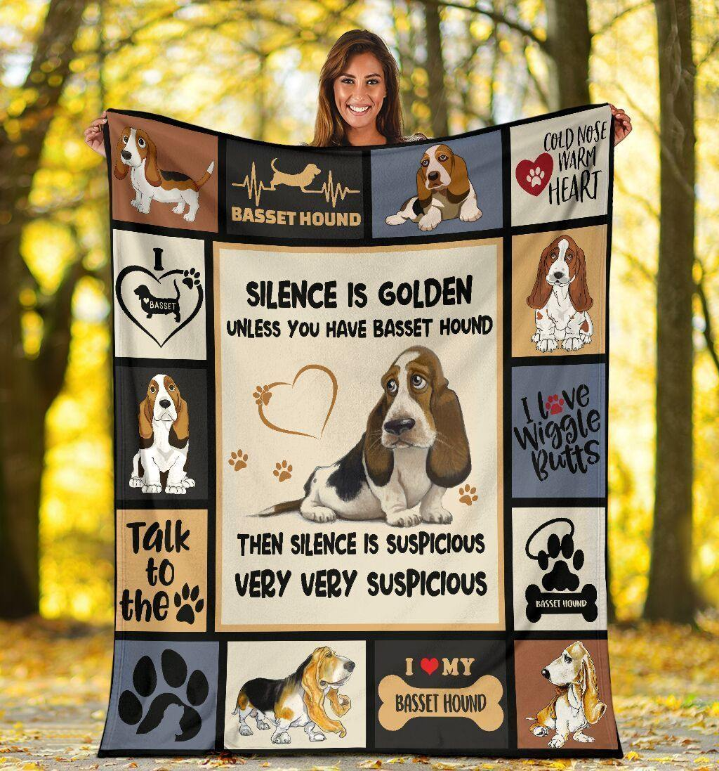 Dog Blanket Silence Is Golden Unless You Have Basset Hound Dog Fleece Blanket