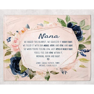 Nana Gift, Grandma Blanket, Nana Blanket, Grandma Gift From Grandkids Grandparent Gifts With Custom Name We Hugged This Blanket Floral Throw