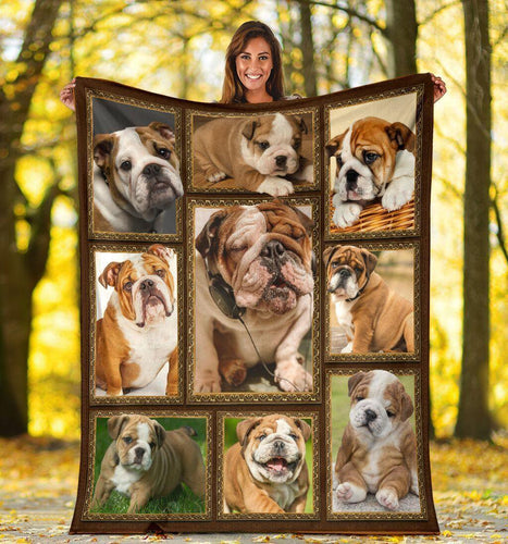 Dog Blanket 3D Funny English Bulldog Dog Lover Gift Fleece Blanket