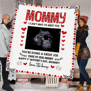 Personalized Ultrasound 1St Mother'S Day My Hero Mommy Fleece Blanket Gift For Mom