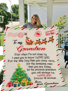 To My Grandson Love Forever And Always Grandma Christmas Gift Blanket