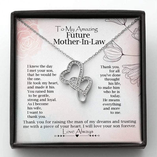 To My Future Mother-In-Law Double Hearts Necklace | Gift from Bride, Thank you for raising the man of my dreams, Mother in Law Necklace Gift, Mother's Day Gift - Family Presents - Great Blanket, Canvas, Clothe, Gifts For Family