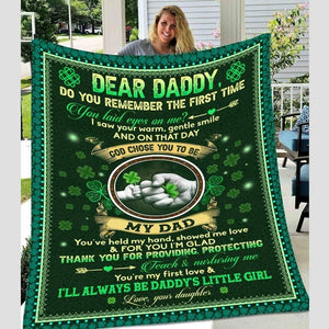 Dear Daddy, Do You Remember The First Time You Laid Eyes On Me, Shamrock Blanket, Gift For Dad - Family Presents - Great Blanket, Canvas, Clothe, Gifts For Family