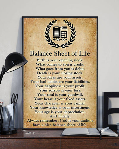 Accountant Balance Sheet Of Life Canvas Wall Art