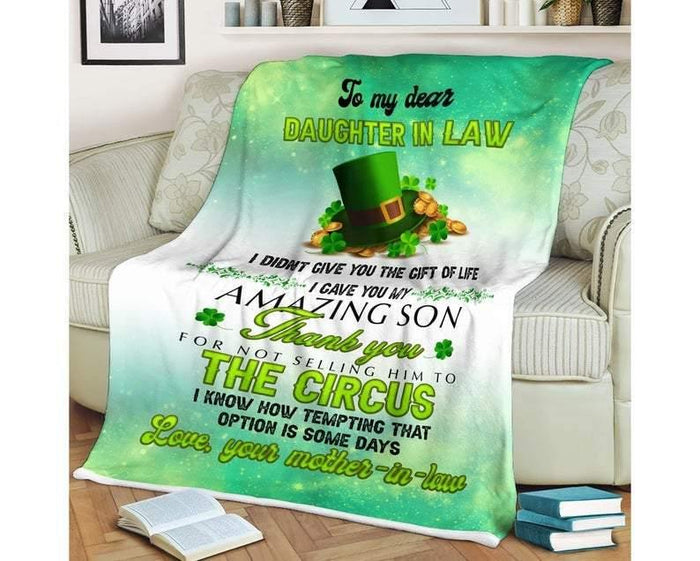 To My Dear Daughter In Law Blanket,st Patrick's Day Gifts, Patrick Day Blanket