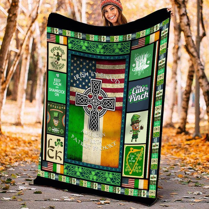 Irish By Blood American By Birth Premium Blanket, St Patricks Day Gift, Irish Present, St Patrickday Blanket