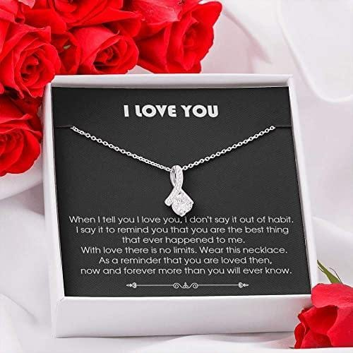 to My Wife Necklace Future Wife Necklace Necklace for Girlfriend with Message Card and Gift Box Anniversary Birthday Wedding Gifts for Her Valentine