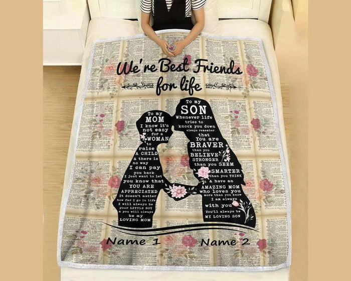 Happy mother's day - Customized Best Friends For Life Blanket, To My Son Blanket, To My Mom Blanket, Mother's Day Blanket Gift, Son Blanket