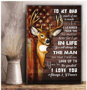 To my Dad - You are greatest - Deer USA Flag Canvas Gift Father Day - Canvas - Family Presents - Great Blanket, Canvas, Clothe, Gifts For Family