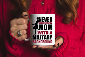 Mothers day White Mug - Gift for veteran mom from daughter and son - Military background mug