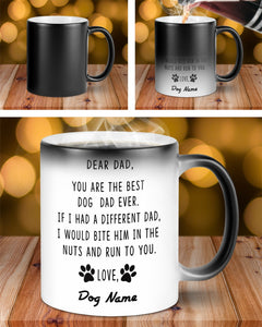 Personalized Dog Dad Mug, You Are The Best Dog Dad Ever, Color Changing Mug, Gift For Dad From Daughter, Son, Happy Fathers Day