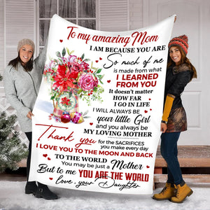 Mothers Day Blanket - Gift For Mother from daughter - I love you to the moon and back Fleece Blanket