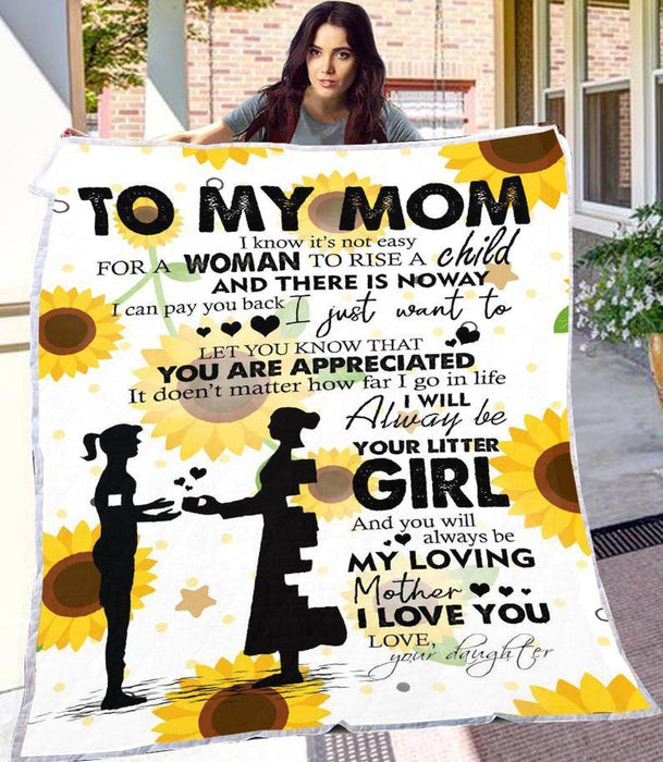 Happy mother's day - Letter To My Mom Blanket, Custom Mom Gift,Mom Sunflower Blanket, Mom Birthday Gift,Mother's Day Gift,Mom Sherpa Fleece Blanket
