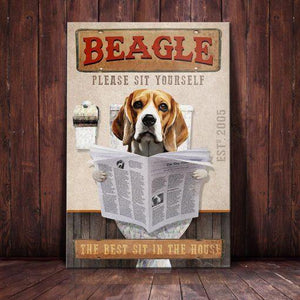 Beagle Dog Bathroom Company Canvas