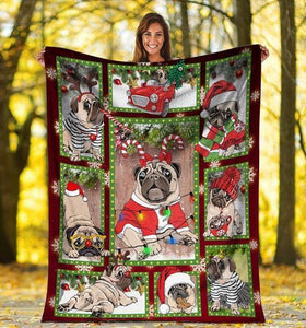 Dog Blanket 3D Cute Pug Dog Christmas Xmas - Family Presents - Great Blanket, Canvas, Clothe, Gifts For Family