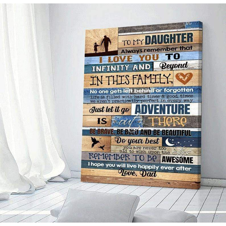 To My Daughter Gift Canvas - I Love You To Infinity - Art Print - Forever Together -Birthday Gift - Anniversary Gift - Wall Decor - Canvas