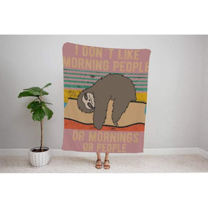 Morning Sloth Funny Blanket, Funny Christmas gifts, Holiday gifts, Gift For Her, Personalized Gifts, Gift For Him- Gift for Birthday, Christmas