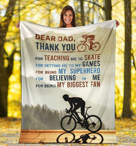 Dear Dad Blanket - Cycling Thank You Dad - Gift For Dad/Father - Christmas, Birthday Gift - Family Presents - Great Blanket, Canvas, Clothe, Gifts For Family