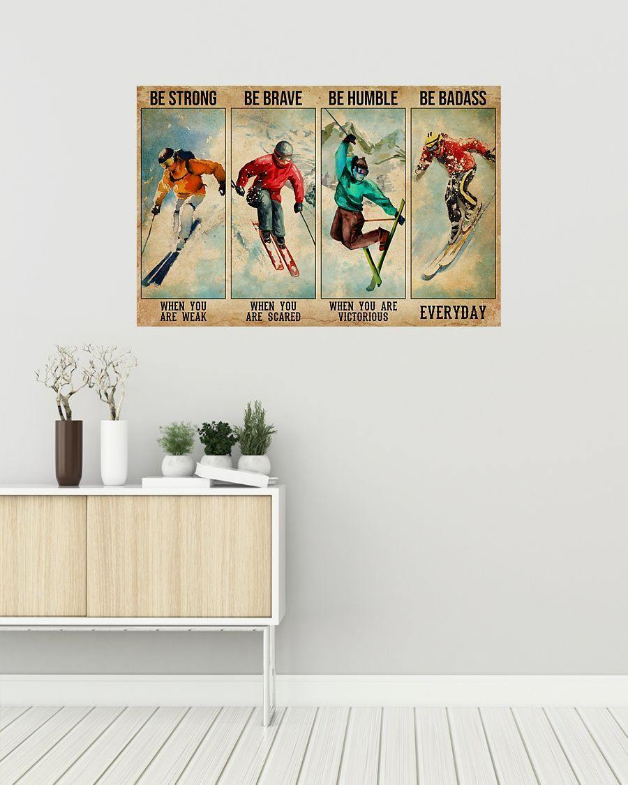 Skiing Be Strong Be Brave Horizontal Canvas