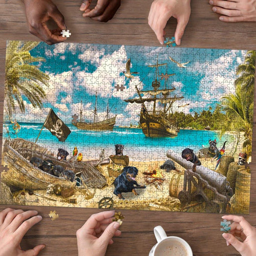 Rottweiler Pirates Puzzle - Puzzle dog - Family Presents - Great Blanket, Canvas, Clothe, Gifts For Family