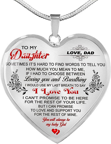 Gifts To My Daughter Necklaces Pendants - Father and Daughter Necklace - Gift from Daddy - Luxury Necklace Silver On Birthday, Anniversary - Family Presents - Great Blanket, Canvas, Clothe, Gifts For Family