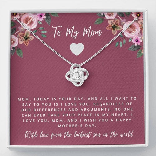 Mother's Day Necklace - Gift For Mom From Daughter - 14k White Gold Necklace - With Love From The Luckiest Son In The World