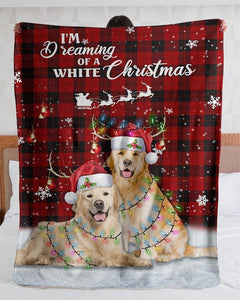 Personalized I'm Dreaming Of A White Christmas Golden Retriever| Fleece Sherpa Woven Blankets| Gifts For Dog Lovers| Gifts For Pet Lovers - Gift for Birthday, Christmas