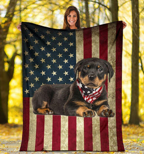 ROTTWEILER USA BLANKET FP1013 - Family Presents - Great Blanket, Canvas, Clothe, Gifts For Family