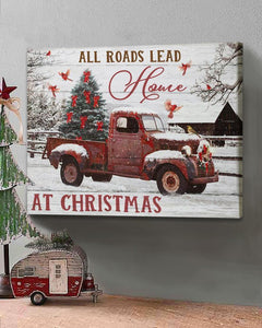All Roads Lead Home At Christmas Winter Red Truck Cardinal Bird Canvas, Christmas Canvas, Christmas Gift, Family Gift, Wall Art, Home Decor - Anniversary Birthday Christmas Housewarming Gift Home Decor