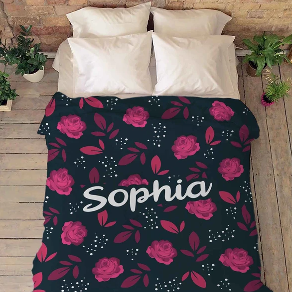 Personalized blanket - Valentine gift for her -