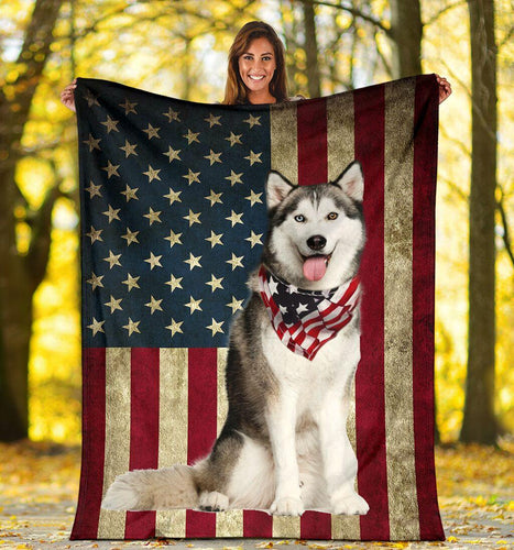 HUSKY USA BLANKET FP1016 - Family Presents - Great Blanket, Canvas, Clothe, Gifts For Family