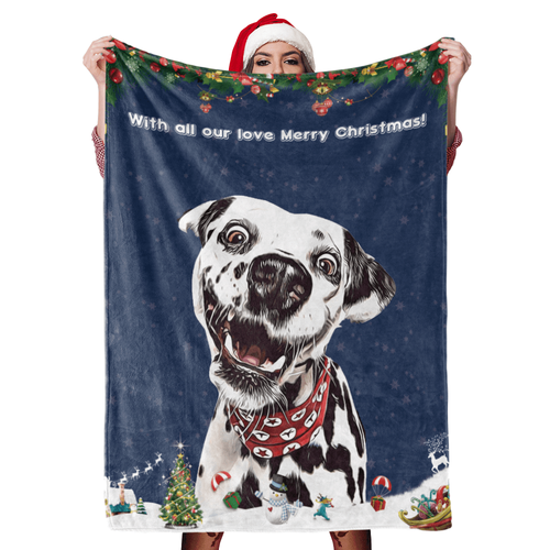 Personalized Blanket, Christmas Dog Blanket Gift Custom Dog Blankets Pet Photo Painted Art Portrait Blanket - Family Presents - Great Blanket, Canvas, Clothe, Gifts For Family
