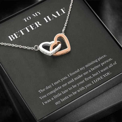 Interlocking Hearts Pendant Necklace,To My Better Half, You Complete Me, Valentine gift for wife/girlfriend - Family Presents - Great Blanket, Canvas, Clothe, Gifts For Family
