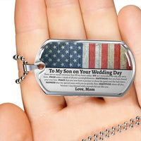 Military Style Dog Tag To My Son On His Wedding Day, Mother To Son Wedding Gift, Gift For Son From Mother, Gift For Son On Wedding Day