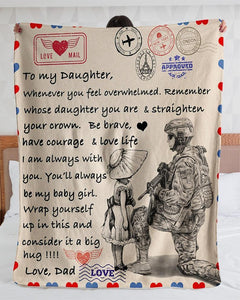 Personalized Air Mail Letter To Daughter From Veteran Dad Blankets| Gifts For Daughter- Gift for Birthday, Christmas - Family Presents - Great Blanket, Canvas, Clothe, Gifts For Family