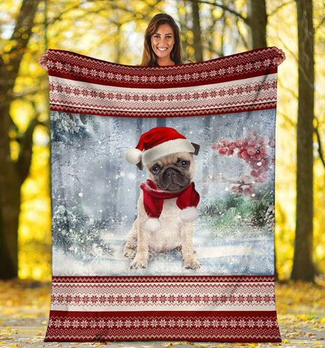 PUG CHRISTMAS SNOW BLANKET - Family Presents - Great Blanket, Canvas, Clothe, Gifts For Family