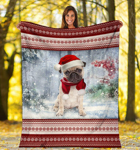 PUG CHRISTMAS SNOW BLANKET