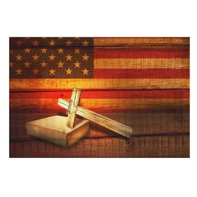 American flag with cross Holy Bible canvas print
