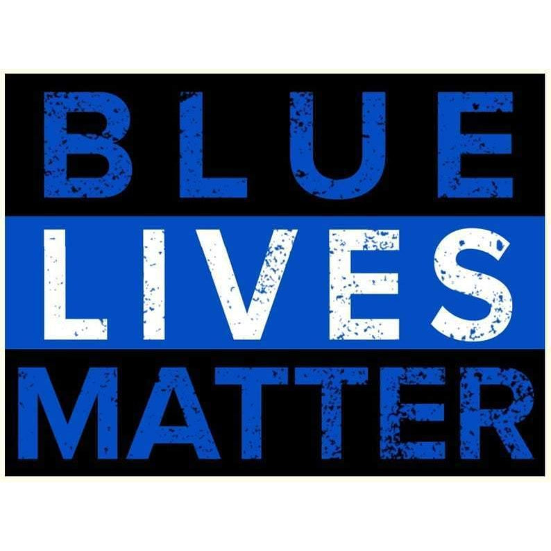 "Blue Lives Matter - 18"" x 24"" Corrugated Yard Sign with H-Stake for display."