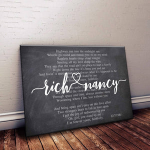 Personalized Any Song Lyrics Canvas Wall Art - Custom Wedding, Anniversary Gift For Couple Wood frame canvas