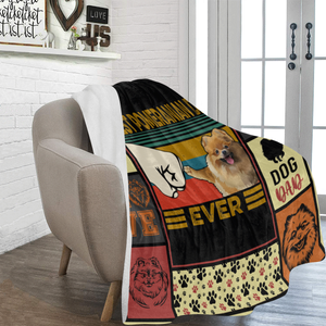 Dog Blanket Best Pomeranian Dad Ever Pomeranian Dog Bump Fit Fleece Blanket